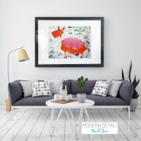 Colourful Glass Print with Modern Art of a goat from Modern Detail By Sarah Jane - Goatey I