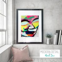 Glass Print colourful face from Modern Detail By Sarah Jane - Hidden Truth I