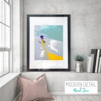 Glass Print with Modern Art in blue and yellow from Modern Detail By Sarah Jane - Colour me Happy VIId