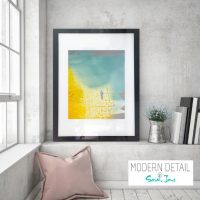 Glass Print with Modern Art in yellow and blue tones from Modern Detail By Sarah Jane - Colour me Happy VI