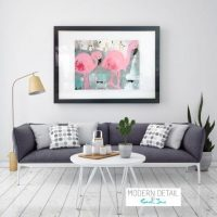 Glass Print with Modern Art of Flamingos from Modern Detail By Sarah Jane - On the Move II