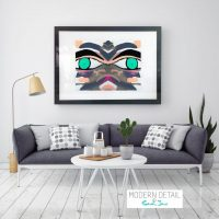 Glass Print with Modern Art of a face from Modern Detail By Sarah Jane - Being Watched Ifff
