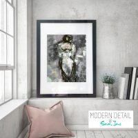 Glass Print with Modern Art of a womans figure from Modern Detail By Sarah Jane - Anonymous XXIa