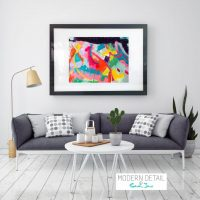 Glass Print with colourful Modern Art from Modern Detail By Sarah Jane - Colour me Happy I