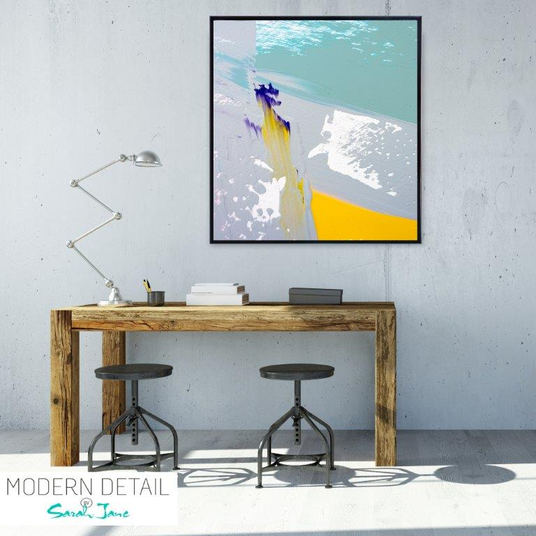 Abstract Art Print for a beach house with fresh colours By Artist Sarah Jane - Colour me Happy VIId
