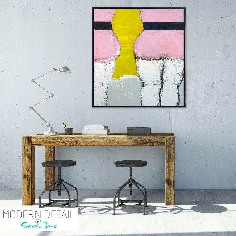 Abstract Art Print for the study of a body in pink bathers By Artist Sarah Jane - Cozzie IId