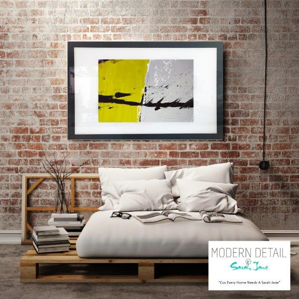 Abstract Art Print in Yellow and Grey for the bedroom By Artist Sarah Jane - Cozzie VIIb