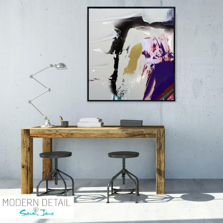 Abstract Art Print in neutral colours for the study By Artist Sarah Jane - Colour me Happy XVId
