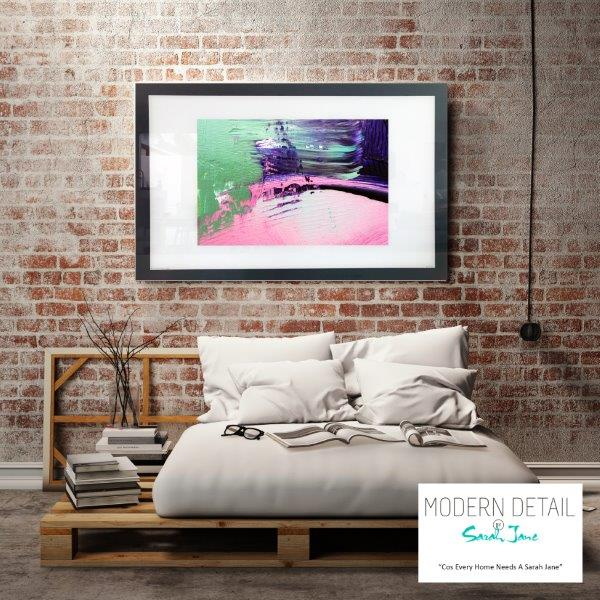 Abstract Art Print with Green Pin and Purple for the bedroom By Artist Sarah Jane - Colour me Happy IX