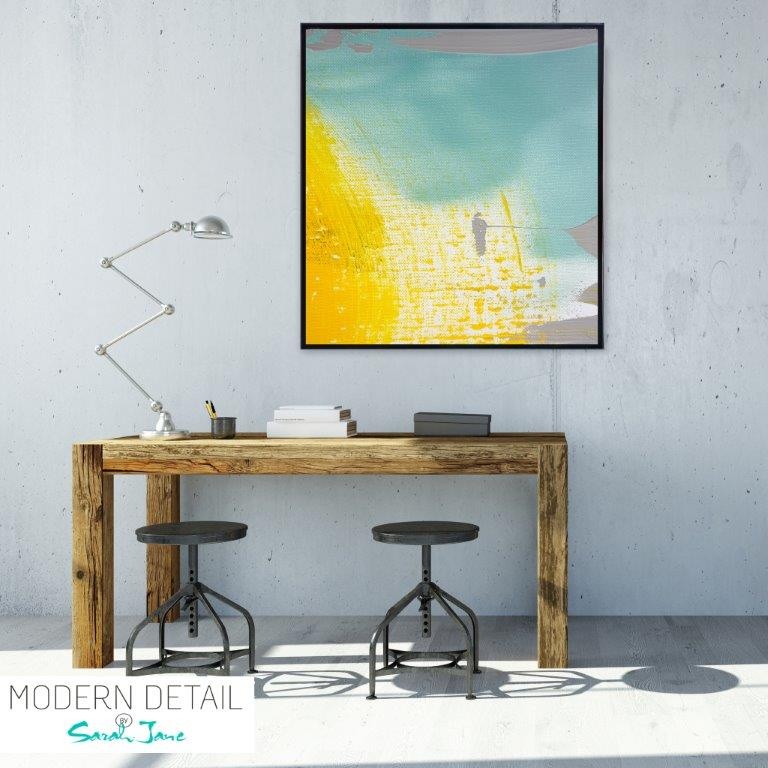 Abstract Art Print with a beach theme for the study By Artist Sarah Jane - Colour me Happy VI