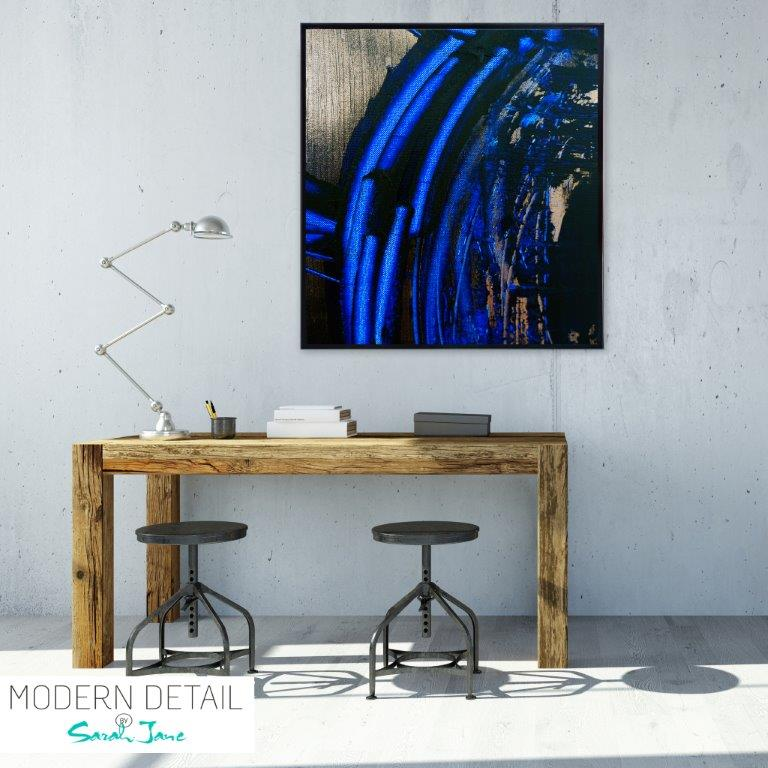 Abstract Art Print with blue and metallic tones for the study By Artist Sarah Jane - Faceless VI