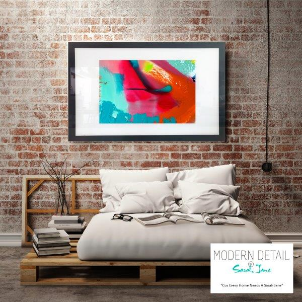 Abstract Art Print with bright colours for the bedroom By Artist Sarah Jane - Colour me Happy V