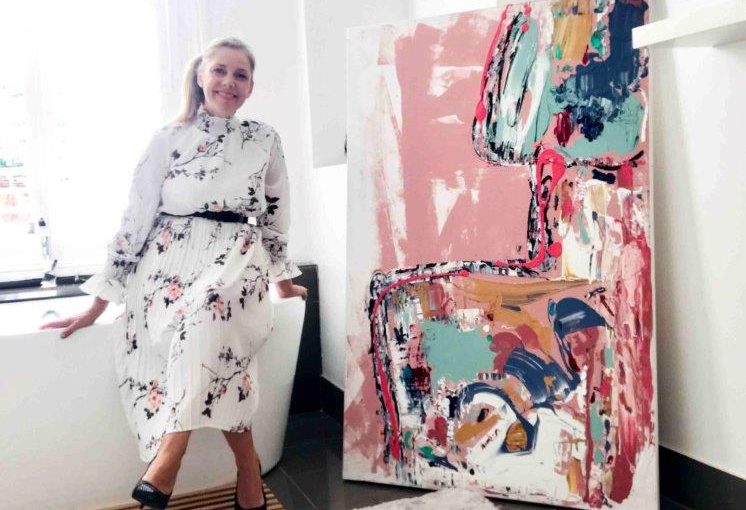Abstract Artist from Adelaide presents No Nosense a modern colourful painting about life