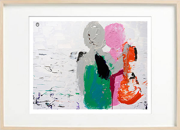 Abstract Figurative Art Print Couple - Sarah Jane Art - Relax I - Birch effect frame