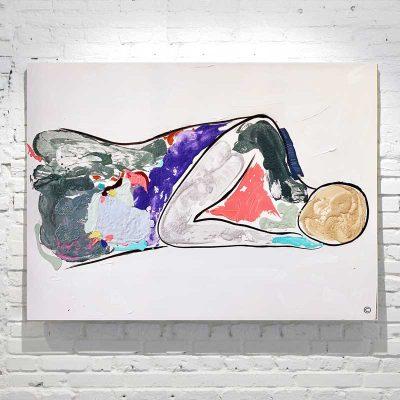 Abstract-Figurative-Painting---Man-sleeping---vibrant-colours---Titled-Bodyline-Bold-V---Artist-Sarah-Jane