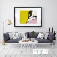Abstract Glass Print in Yellow and Pink colourings from Modern Detail By Sarah Jane - Cozzie VIIId