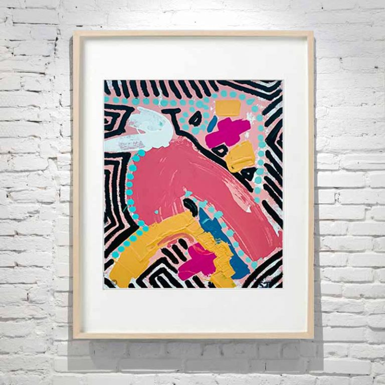 Line Dot Painting of a bird with bright colours in Birch Frame Titled Australiana III By Australian Artist Sarah Jane