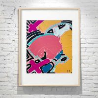 Abstract Line Dot Painting with bright colours in Birch Frame Titled Australiana IV By Australian Artist Sarah Jane