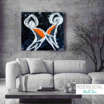 Abstract Modern Painting kids playing by Artist Sarah Jane called Playful Pair - MODERN DETAIL BY SARAH JANE