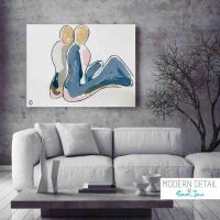 Abstract Modern Painting of a couple by Artist Sarah Jane called Bodyline II - MODERN DETAIL BY SARAH JANE