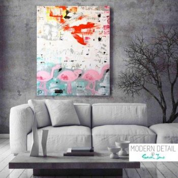 Abstract Modern Painting of flamingos by Artist Sarah Jane called On the Move - MODERN DETAIL BY SARAH JANE