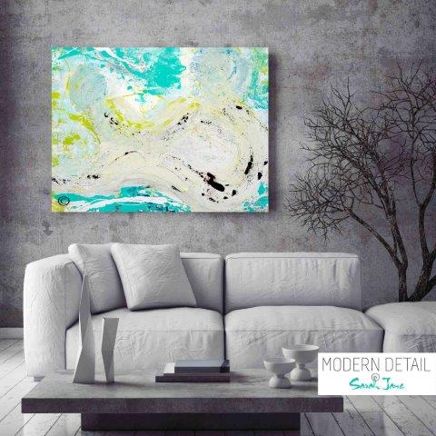 Abstract Modern Painting of mum and baby by Artist Sarah Jane called Unconditional Love - MODERN DETAIL BY SARAH JANE