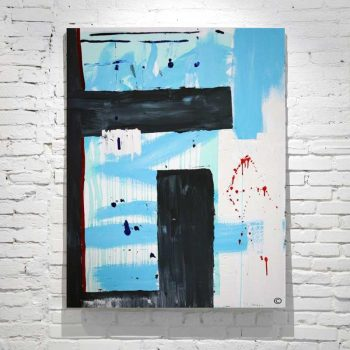 Abstract Painting in cool colours blue mint and charcoal Titled Hope y Australian Artist Sarah Jane