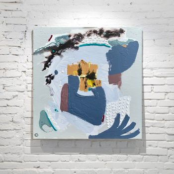 Abstract Painting of the Earth Landscape in Blue Grey and Yellow Titled Climate Change II By Adelaide Artist Sarah Jane