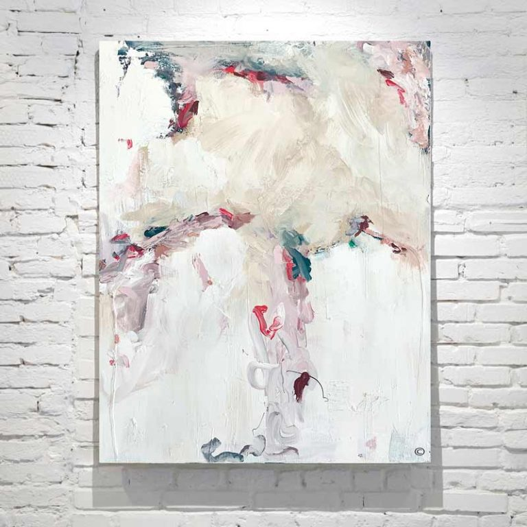 abstract painting with soft colours titled electric dreams by adelaide artist sarah jane