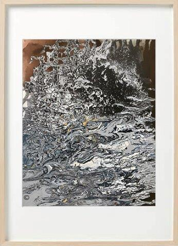 Abstract Painting marble effect neutral colours called Nature VII in a birch frame