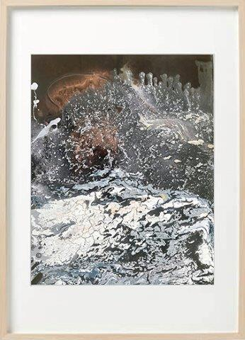 Abstract Painting marble effect neutral colours called Nature VIII in a birch frame