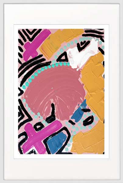 Abstract Print Bold Colours - Sarah Jane Artist - Australiana IVa - White frame