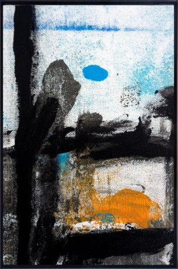 Abstract Print on Glass of a hooded man By Adelaide Artist Sarah Jane with Thin Black Border - Boardwalk VIII