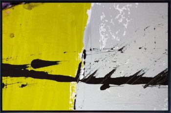 Abstract Print on Glass with block colours By Adelaide Artist Sarah Jane with Thin Black Border - Cozzie VIIb