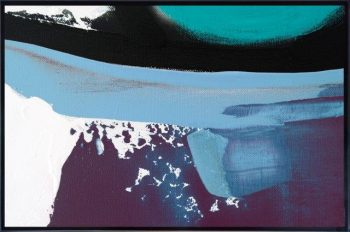 Abstract Print on Glass with cool colour tones By Adelaide Artist Sarah Jane with Thin Black Border - Being Watched XVIc