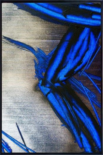Abstract Print on Glass with masculine colours By Adelaide Artist Sarah Jane with Thin Black Border - Faceless III