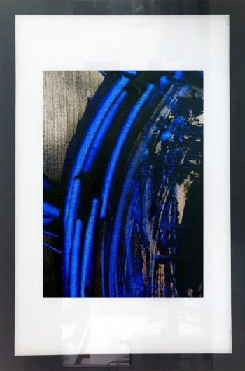 Abstract Print on Glass with metallic and blue tones By Adelaide Artist Sarah Jane with White and Black Border - Faceless VI