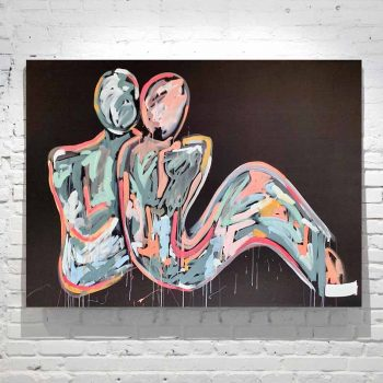 abstract figurative painting coouple bright colours titled lovers crush i by artist sarah jane
