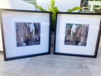 Abstract neutral framed prints - Tenderness XI and Tenderness XI inverted by Artist Sarah Jane