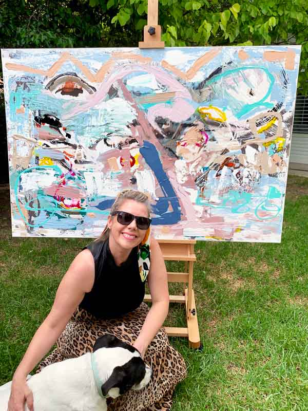 adelaide artist sarah jane next to like a kid in a candy shop original modern painting