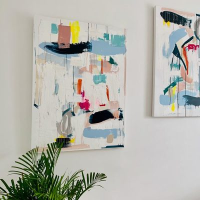 adelaide artist presents artwork pairs reengage i and reengage ii - colourful abstract paintings