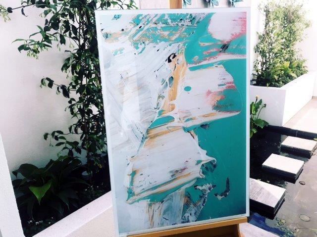 Aqua and white abstract glass print - Feathers LIIIc By Artist Sarah Jane