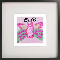 Art Print of a butterfly in a black frame for a kids bedroom - Butterfly Ie By Sarah Jane