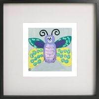 Art Print of a butterfly in a black frame for a kids bedroom - Butterfly Ig By Sarah Jane