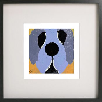 Art Print of a dog in a black frame for a kids bedroom - Woofa Ig By Sarah Jane