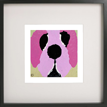 Art Print of a dog in a black frame for a kids bedroom - Woofa Ih By Sarah Jane