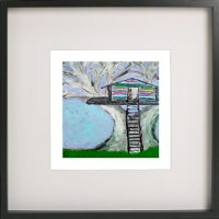 Art Print of a treehouse in a black frame for a kids bedroom - Magical Treehouse IIb By Sarah Jane