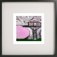 Art Print of a treehouse in a black frame for a kids bedroom - Magical Treehouse IIe By Sarah Jane