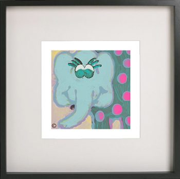 Art Print of an elephant in a black frame for a kids bedroom - Ellie Ib By Sarah Jane