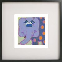 Art Print of an elephant in a black frame for a kids bedroom - Ellie Ic By Sarah Jane